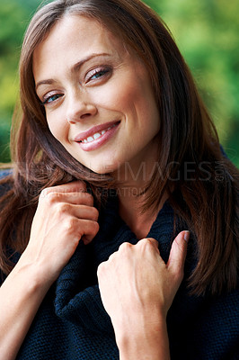 Buy stock photo Closeup portrait of a beautiful young lady posing confidently