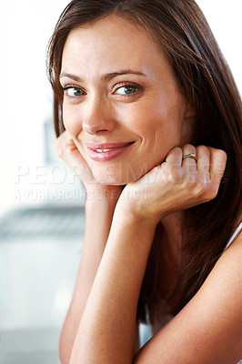 Buy stock photo Closeup portrait of a gorgeous young woman looking happy