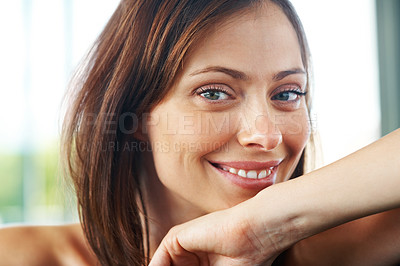 Buy stock photo Closeup portrait of a lovely young female looking at you with a smile