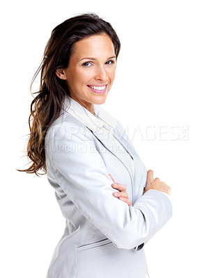 Buy stock photo Portrait of a beautiful young female business executive standing with hand folded against white background