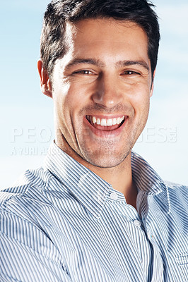 Buy stock photo Portrait of a handsome young man looking happy - Outdoor