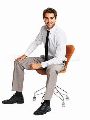 Buy stock photo Full length of smiling executive sitting on chair over white background