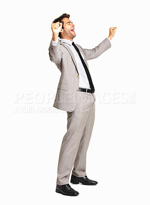 Buy stock photo Business man screaming with joy on white background