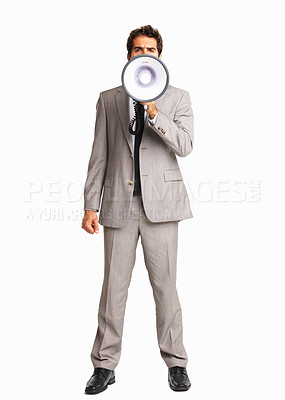 Buy stock photo Full length of a business man making an announcement on white background