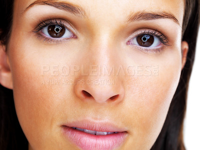 Buy stock photo Closeup portrait of a cute young female looking serious
