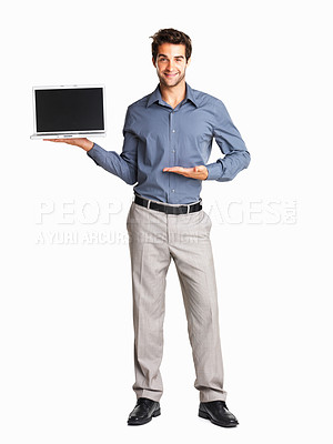 Buy stock photo Sales man presenting laptop on white background