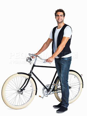 Buy stock photo Confident man holding onto retro bicycle
