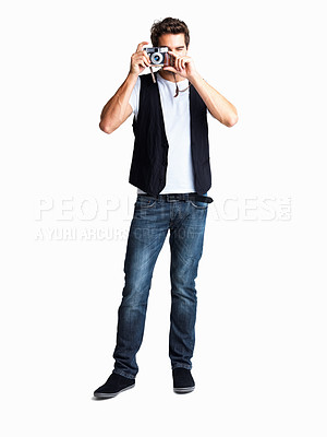 Buy stock photo Casual man taking photo