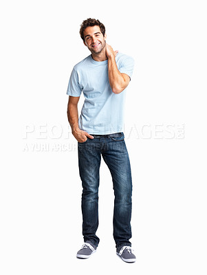 Buy stock photo Man smiling with one hand in pocket