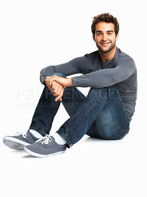 Buy stock photo Charming man sitting on the floor