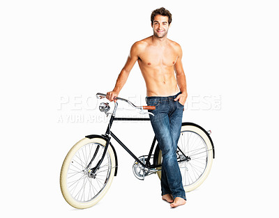 Buy stock photo Macho shirtless man standing next to his retro bike