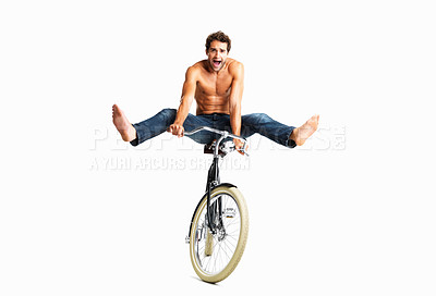 Buy stock photo Panicked man riding bike