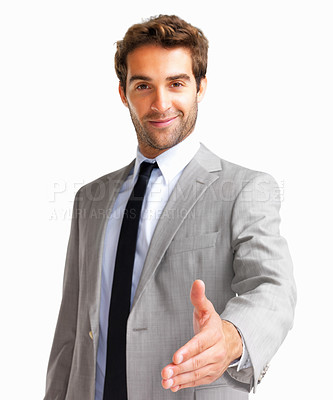 Buy stock photo Handsome executive extending hand to shake