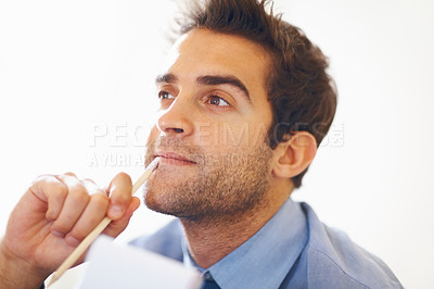Buy stock photo Closeup portrait of young executive looking away in deep thought