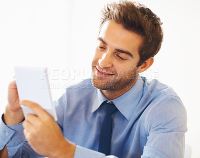 Buy stock photo Closeup portrait of smiling business man writing on the notepad