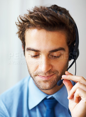 Buy stock photo Closeup portrait of call center executive with headset
