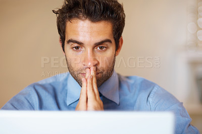 Buy stock photo Serious executive with hands to face, looking at laptop in anticipation