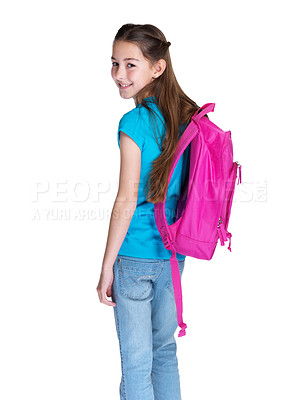 Buy stock photo Portrait of a cute small girl going to school against white background