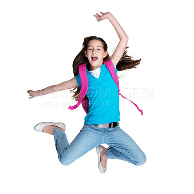 Buy stock photo Portrait of an excited little girl jumping in joy against white background