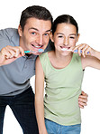 Handsome young man brushing with his daugther