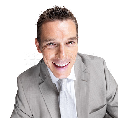 Buy stock photo Closeup portrait of a handsome young male business executive looking happy against white background