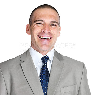 Buy stock photo Closeup portrait of a confident young male entrepreneur smiling against white background