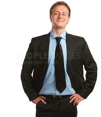 Buy stock photo Businessman full of ideas - A trendy businessman with a blue tie and shirt.
