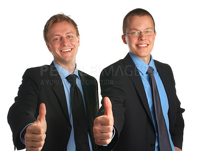 Buy stock photo Two young businessmen in studio giving you a