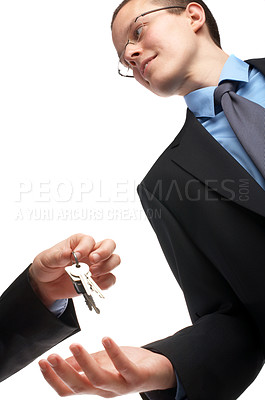 Buy stock photo Taking over the business, home or car. Selling or buying.  Symbolic picture.