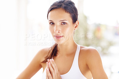 Buy stock photo Portrait of young woman during yoga meditation looking at you