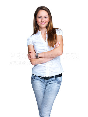 Buy stock photo Portrait of an attractive young woman standing with her hand folded against white background