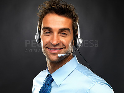 Buy stock photo Closeup portrait of customer care executive smiling on black background
