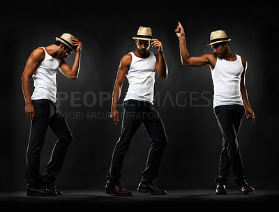 Buy stock photo Full length of young man performing various dance moves on black background