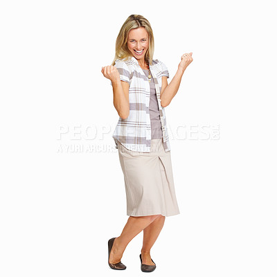 Buy stock photo Full length of beautiful woman celebrating success with clenched fists on white background