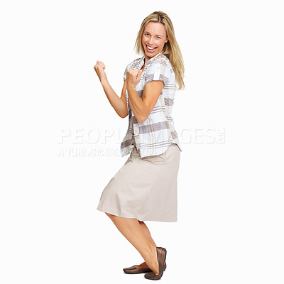 Buy stock photo Full length of excited mature woman celebrating success with clenched fists on white background