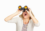 Shocked woman spying with binoculars