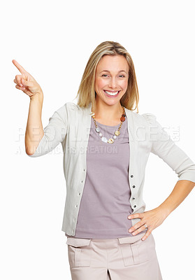 Buy stock photo Smiling business woman pointing while presenting on white background