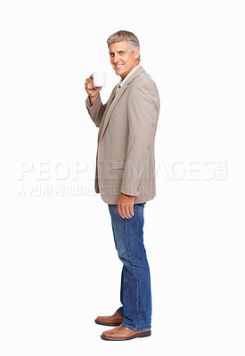 Buy stock photo Studio shot of a mature man drinking a beverage against a white background