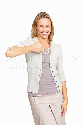 Buy stock photo Portrait of beautiful business woman with thumbs up on white background