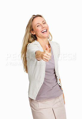 Buy stock photo Lovely woman with thumbs up over white background
