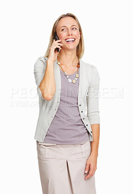 Buy stock photo Portrait of happy business woman talking on cellphone over white background
