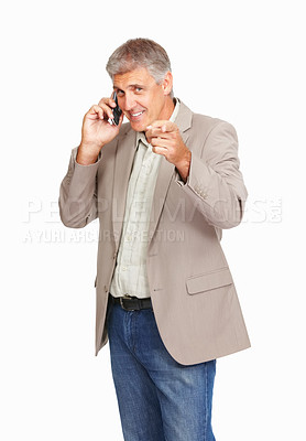 Buy stock photo Studio shot of a mature man using a mobile phone while pointing at you against a white background