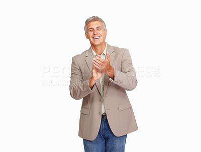 Buy stock photo Studio shot of a mature man clapping against a white background