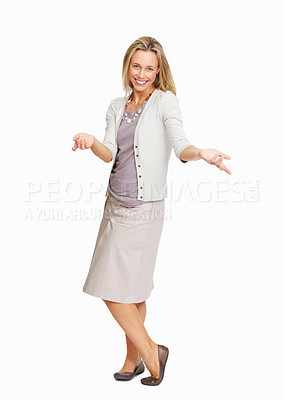Buy stock photo Full length of attractive business woman shrugging over white background
