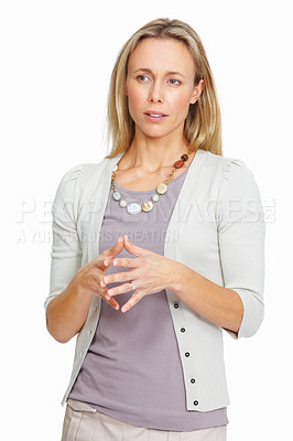 Buy stock photo Closeup of successful lady executive looking away with fingers joined over white background