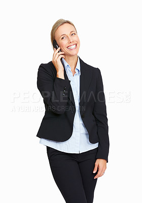 Buy stock photo Portrait of happy business woman talking on cellphone on white background.