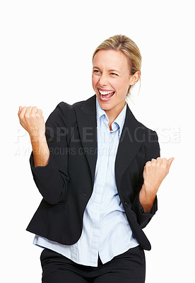 Buy stock photo Portrait of happy business woman showing happy gesture on white background