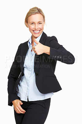 Buy stock photo Portrait of happy business woman holding their thumbs up on white background