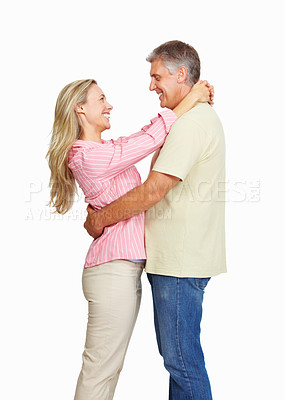 Buy stock photo Happy mature couple having fun on white background