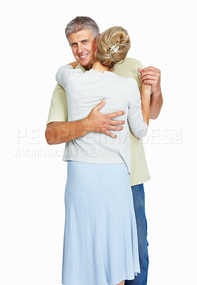 Buy stock photo Portrait of happy mature man dancing with woman over white background